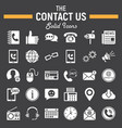 contact us solid icon set web button signs vector image