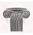 Stylized Antique column in sketch style on a vector image