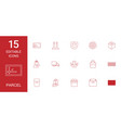 15 parcel icons vector image vector image