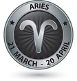 Aries zodiac silver sign aries symbol vector image vector image
