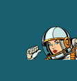 astronaut woman fist hand pointing at herself vector image vector image
