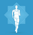 athlete runner running front view vector image