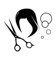barber icon with tools and wig silhouette vector image vector image