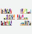 Books on shelves vector image vector image