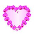 border heart shaped orchid phalaenopsis purple vector image