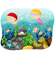 Boy and girl swimming in the ocean vector image