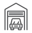 car garage line icon automobile and home vector image vector image