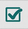 check mark button in square icon flat vector image vector image