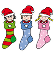 children dressed as Santa Claus vector image vector image