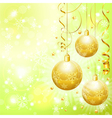 christmas background with baubles paper streamer vector image vector image