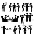 cocktail party man friend gathering enjoying wine vector image vector image