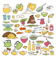colourful sketch collection set of food vector image vector image