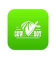 cowboy icon green vector image