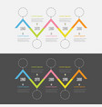 five step timeline infographic set dash line vector image vector image