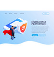 flat isometric database protection concept vector image vector image