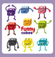 funny cute cubes colorful candy button glossy vector image