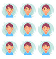 funny emotions cute boy avatar icons set flat vector image vector image