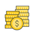 gold coin and stack coins bank and financial vector image