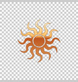 golden sun isolated on transparent background vector image vector image