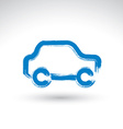 Hand drawn blue car icon brush drawing passenger vector image vector image