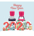 happy new year 2020 celebration cute bear penguin vector image vector image