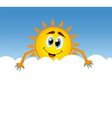 happy sun with cloud vector image vector image