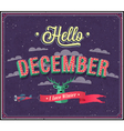 Hello december typographic design vector image