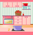 kitchen full of cabinets and appliances vector image