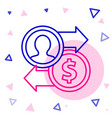 line job promotion exchange money icon isolated on vector image vector image