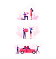 loving couple set with man giving presents to girl vector image vector image