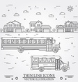 Neighborhood with homes and school buses on white vector image vector image