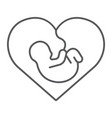 newborn in heart thin line icon love and child vector image vector image