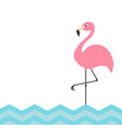 pink flamingo blue sea ocean water zigzag wave vector image