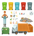 plastic containers for different trashes vector image vector image