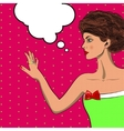 Pop art pretty woman looking at her ring vector image vector image