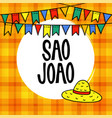 sao joao or festa junina brazilian june party vector image vector image
