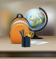 school bag with globe vector image