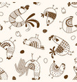 seamless pattern with chickens roosters eggs vector image vector image