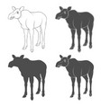 set black and white images with a moose vector image vector image