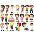 set isolated children doing different vector image vector image