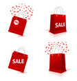 shopping paper red bag set empty vector image vector image