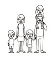 silhouette caricature big family parents with girl vector image vector image