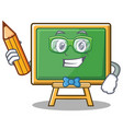 student with pencil chalk board character cartoon vector image