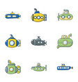 submarine icons set cartoon style vector image vector image