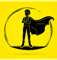 super hero man action cartoon graphic vector image