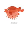 swimming red fugu fish marine vector image vector image