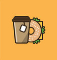 tea drink and bagel sandwich vector image vector image