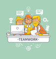 team people standing and sitting behind desk vector image vector image