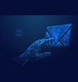 touch on email low poly blue vector image vector image