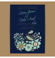 Wedding invitation card with bird and flowers navy vector image